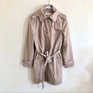 Michael Kors Khaki Hooded Trench Coat Sz L